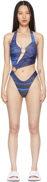Louisa Ballou SSENSE Exclusive Black & Blue Sex Wax One-Piece Swimsuit