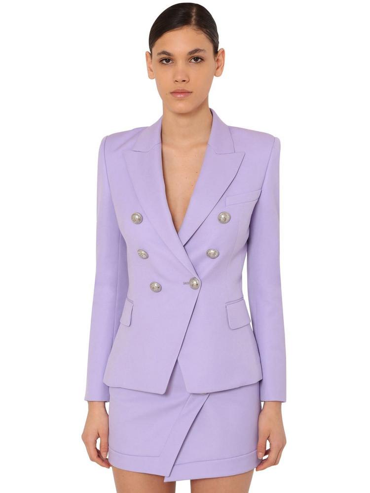 BALMAIN Grain De Poudre Double Breast Blazer in lilac