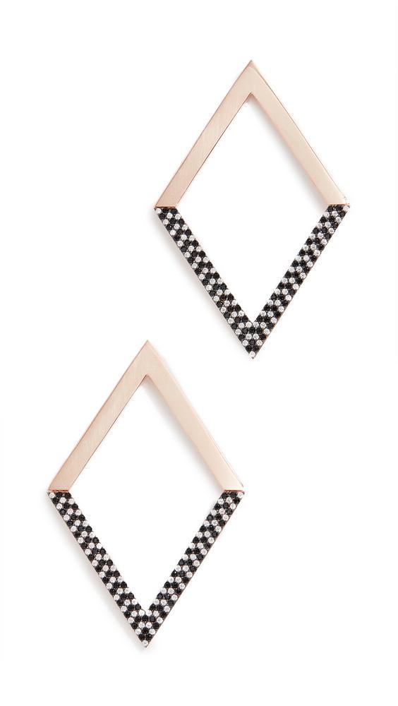 Nickho Rey Statement Hinged Diamond Shape Earrings in black / white