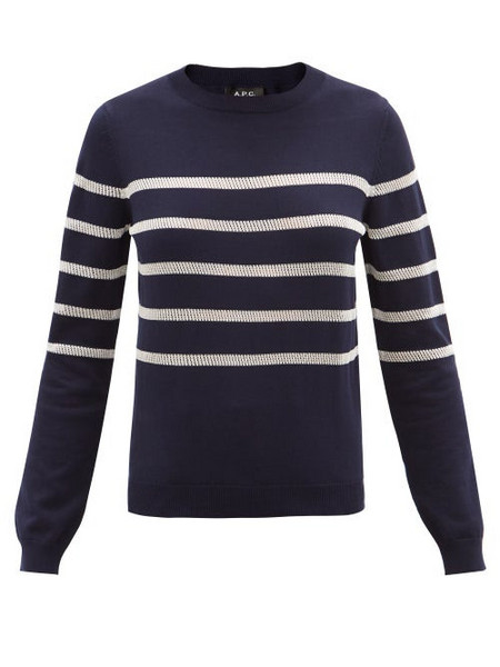 A.P.C. A.P.C. - Cordelia Striped Cotton-blend Sweater - Womens - Navy