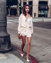 shoes,mules,white dress,mini dress,long sleeve dress,bag