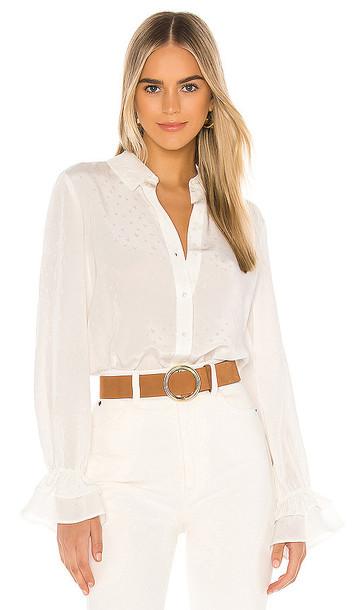 PAIGE Giorgia Silk Blouse in White