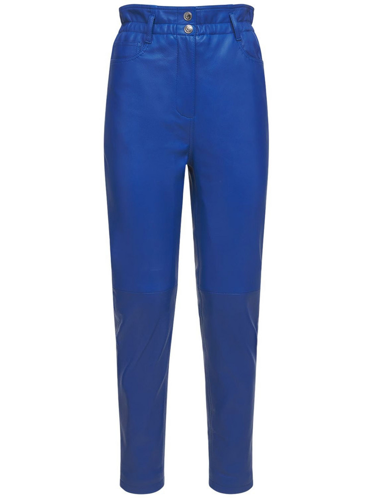 REMAIN High Waist Gracele Leather Pants in blue