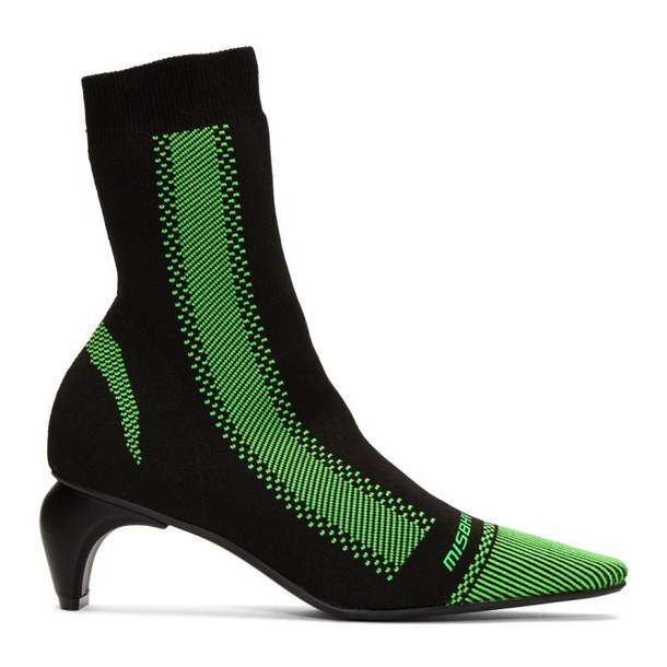 MISBHV Black and Green Active Square Ankle Boots