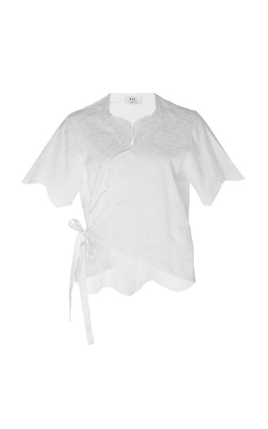Sir The Label Delilah Eyelet Cotton Wrap Top in white