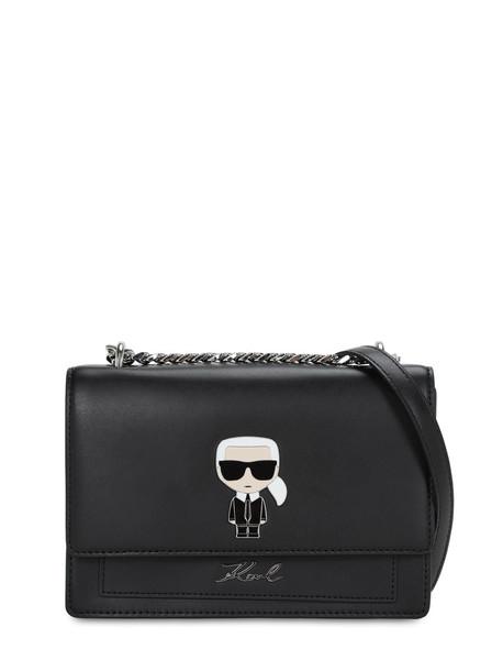 KARL LAGERFELD Karl Ikonik Leather Shoulder Bag in black