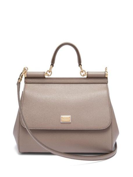 Dolce & Gabbana - Sicily Medium Dauphine Leather Bag - Womens - Light Grey