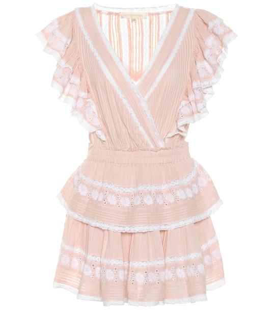 LoveShackFancy Gwen lace-trimmed cotton dress in pink