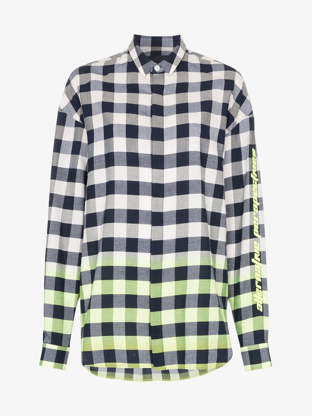 Juun.J dip-dye checked-cotton shirt in blue / white / yellow