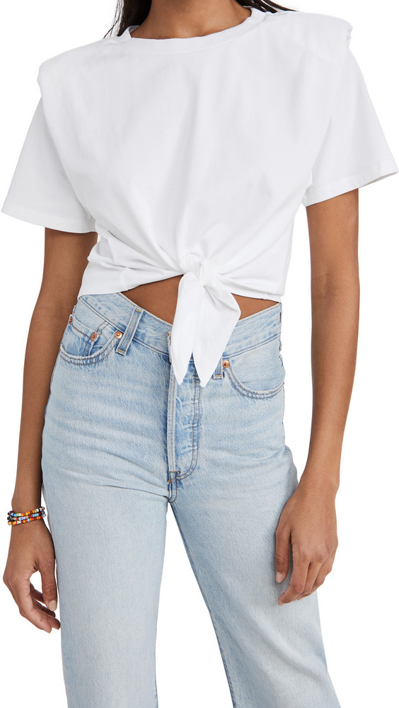 endless rose Shoulder Padded Front Tie T-Shirt in white
