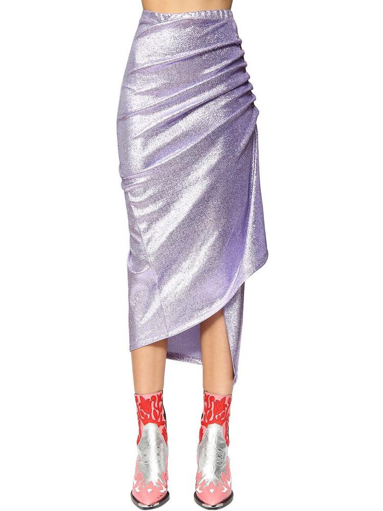 PACO RABANNE Stretch Lurex Wrap Skirt in purple