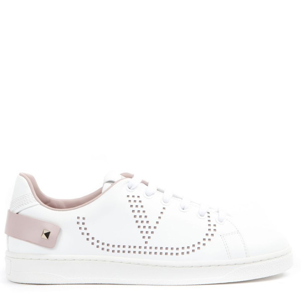 Valentino Garavani White And Pink Leather Vlogo Sneakers