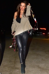 sweater,leather,leather pants,alessandra ambrosio,model off-duty,fall outfits,celebrity
