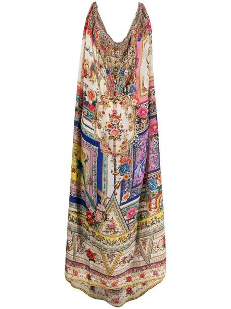 Camilla floral-baroque print silk drawstring dress in pink