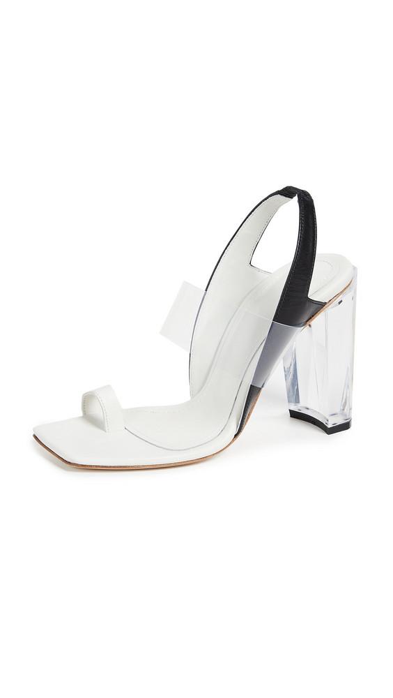 THE VOLON Toe Ring Sandals in black / white