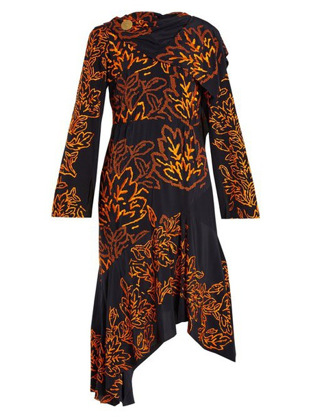 Peter Pilotto - Floral Embroidered Silk Crepe Dress - Womens - Navy Multi