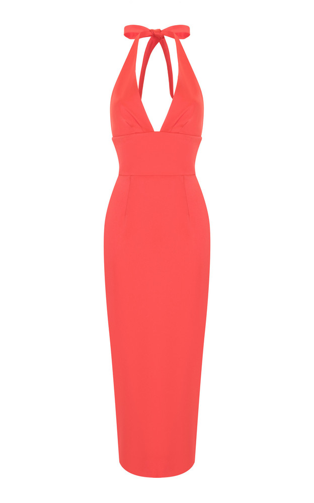 Rasario Satin Halter Sheath Dress in pink