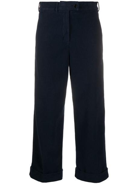 Aspesi cropped wide leg trousers in blue