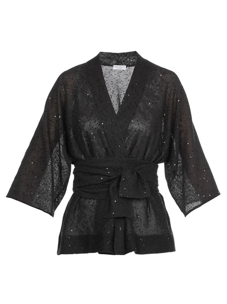 Brunello Cucinelli Cardigan With Sequins in black