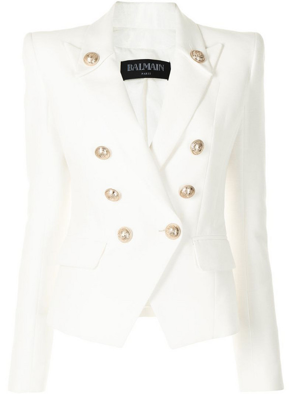 Balmain notched-collar double-breasted jacket in white
