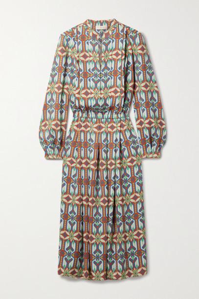Tory Burch - Printed Crepe Midi Dress - Brown