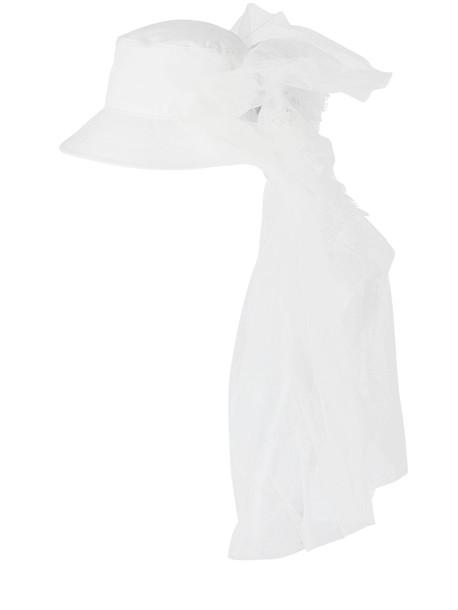 MM6 MAISON MARGIELA Rose & Tulle Embellished Bucket Hat in white