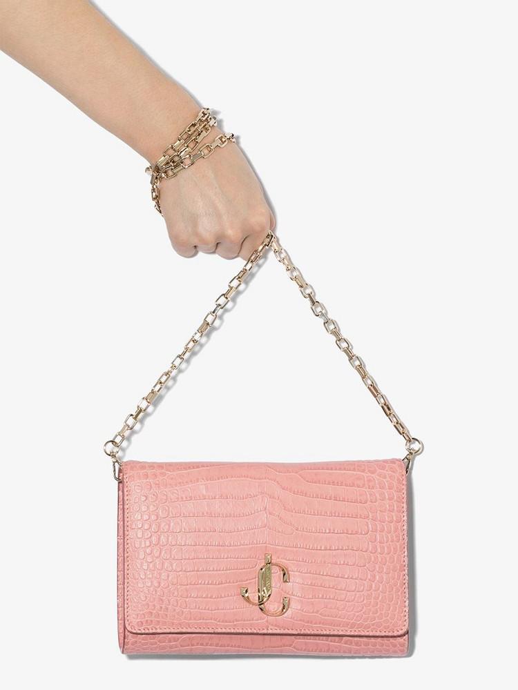 Jimmy Choo Varenne crocodile-effect clutch bag in pink