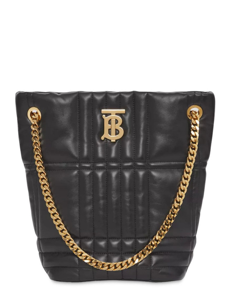 BURBERRY Small Lola Quilted Leather Bucket Bag in black