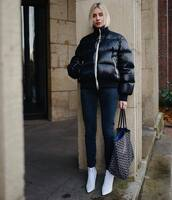 shoes,white boots,heel boots,skinny jeans,bag,puffer jacket,black jacket