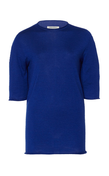 Boontheshop Collection Wool-Silk Knit Top in blue