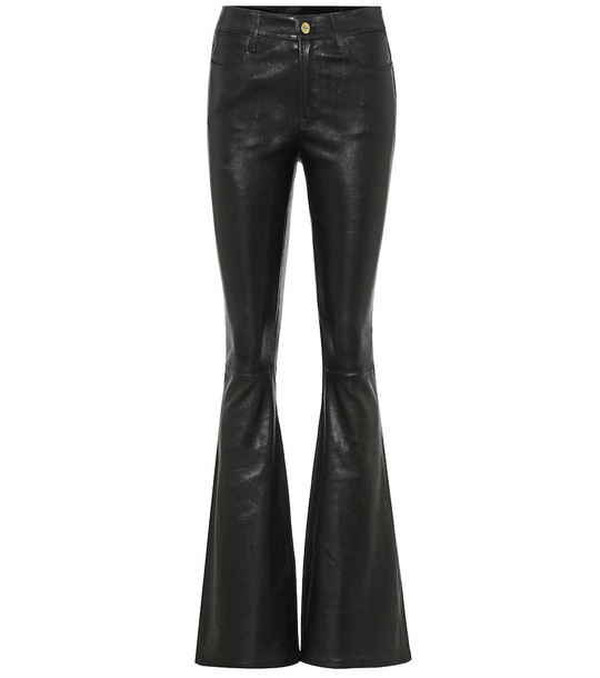 Frame Le High Flare leather jeans in black