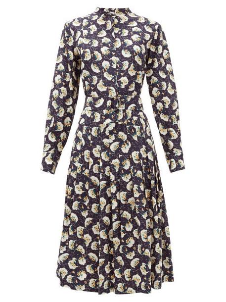 Chloé Chloé - Belted Pintucked Floral-print Silk Shirtdress - Womens - Dark Blue