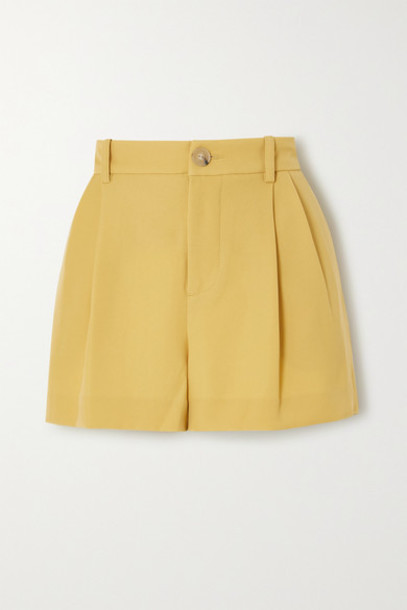 Vince - Pleated Crepe Shorts - Yellow