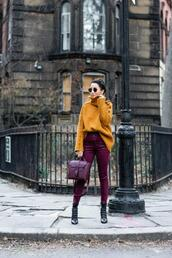 wendy's,lookbook,blogger,sweater,pants,shoes,bag,sunglasses,winter outfits,turtleneck sweater,black boots,heel boots,high waisted pants,skinny pants,shoulder bag