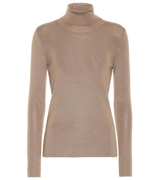 Prada Cashmere and silk turtleneck sweater in beige