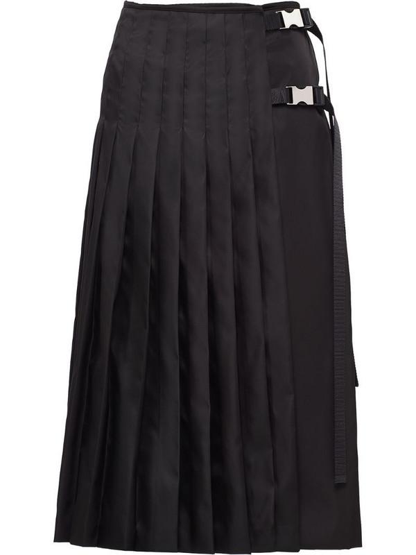 Prada buckle-detail pleated midi skirt in black