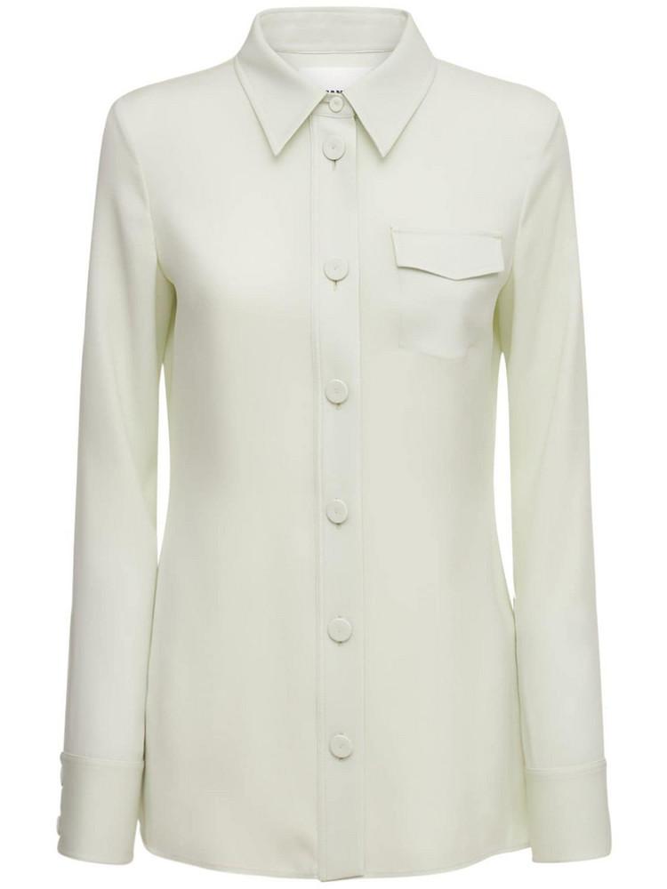 JIL SANDER Viscose & Silk Cady Stretch Shirt in green