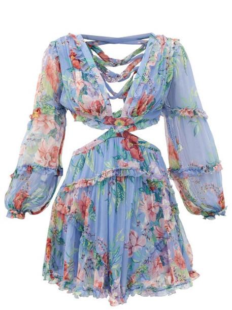 Zimmermann - Bellitude Laced Floral-print Silk Mini Dress - Womens - Blue Print