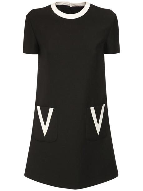 VALENTINO V Detail Crepe Couture Mini Dress in black / ivory