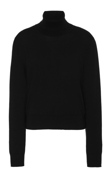 The Row Chanic Wool-Cashmere Turtleneck Sweater Size: XS in black