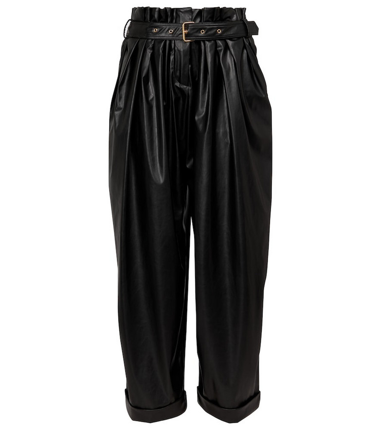Balmain High-rise faux leather paperbag pants in black