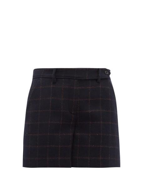 Redvalentino - Metallic Check Wool Blend Shorts - Womens - Navy Multi