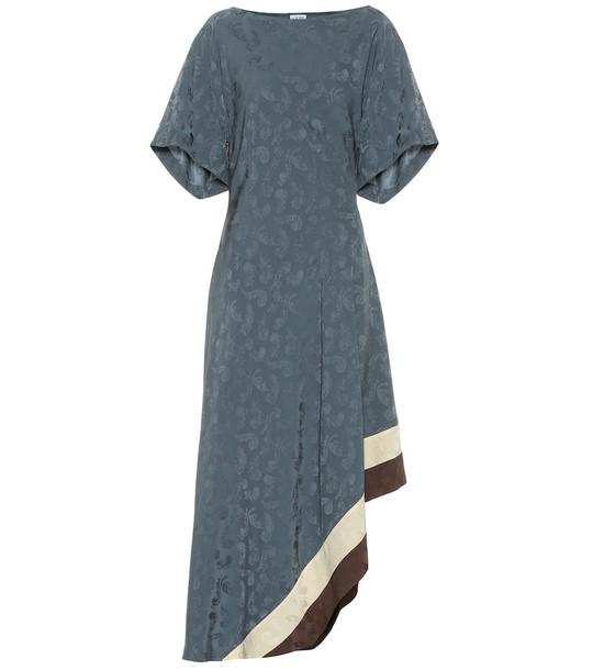 Loewe Asymmetric jacquard midi dress in blue
