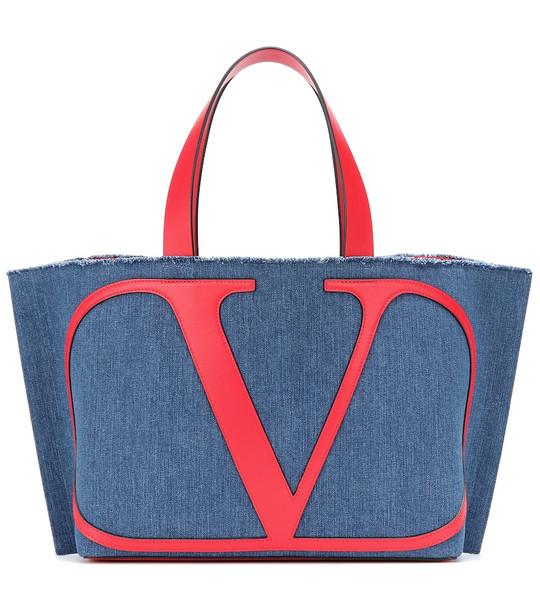 Valentino Garavani VLOGO denim tote in blue