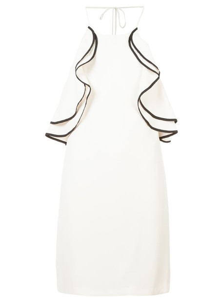 Halston Heritage frilled fitted dress in neutrals