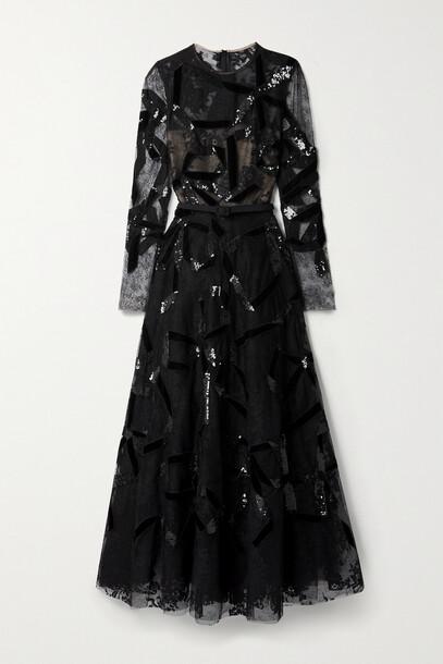 Oscar de la Renta - Belted Sequin-embellished Lace Gown - Black