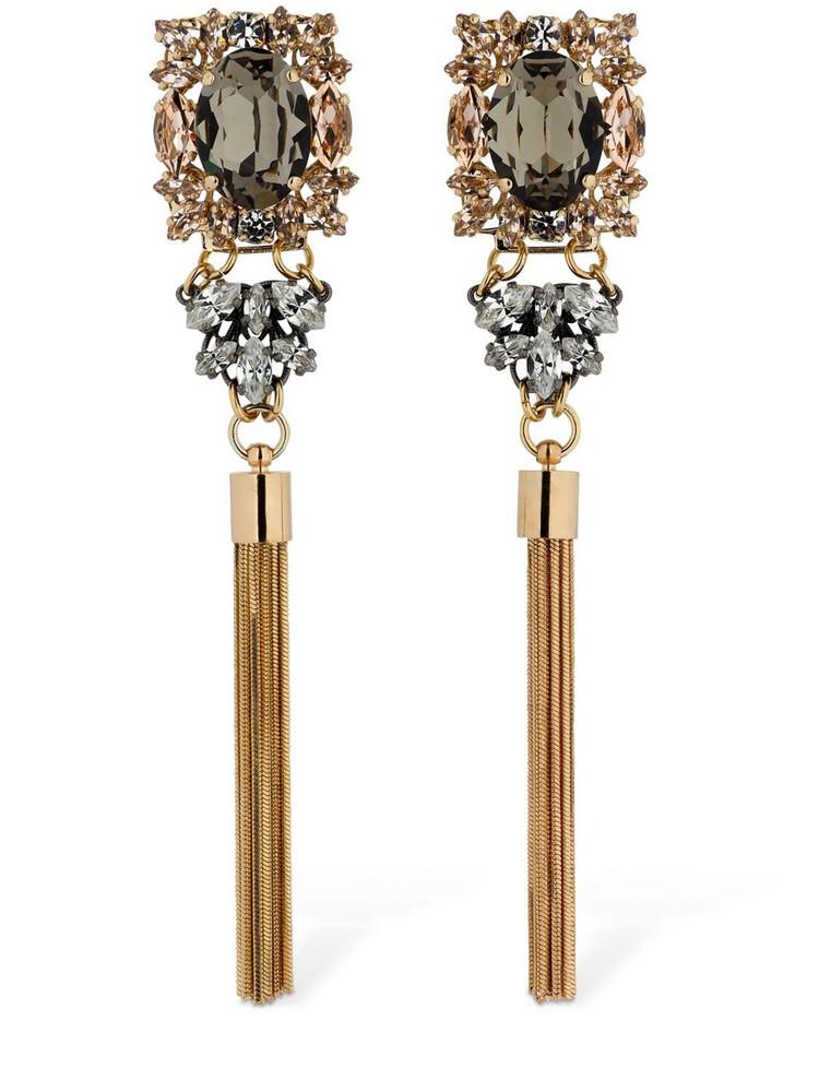 ANTON HEUNIS Omega Clasp Crystal & Tassel Earrings in gold