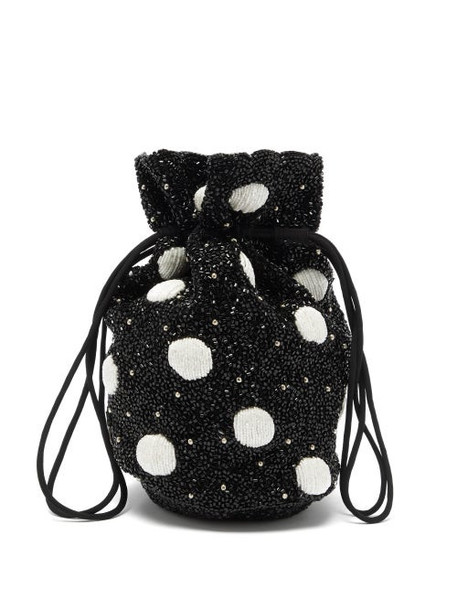 Ganni - Hand-beaded Polka-dot Drawstring Pouch - Womens - Black White