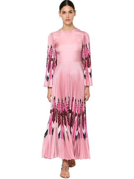 VALENTINO Printed Silk Twill Long Dress in pink