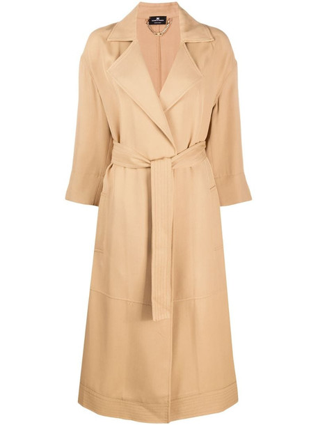 Elisabetta Franchi belted trench coat in brown
